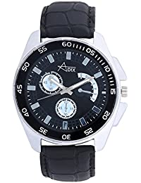 Adix Black Leather Analog Watch For Men