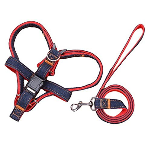Pingxia Pet Safety Harness,Denim Dog Leads No-Pull Dog / Cat Leash with Quick Release Buckles for Large / Medium / Small Dog - S;Red