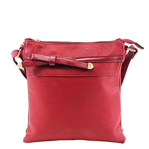 Haute für Diva S Neu Damen Kunstleder Schleife verstellbarer Gurt klein Umhängetasche Handtasche - Schwarz, Small Rot