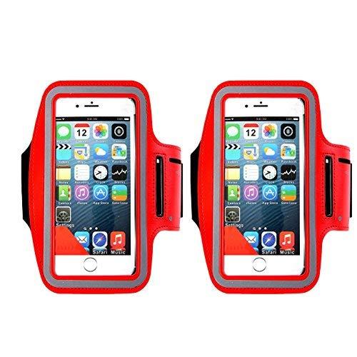 Wasserabweisend Handy Armband, ibarbe 14,5cm Schutzhülle für wie iPhone 8, 7, 6, 6S Plus, Galaxy Note 8/S7Edge/S8/S8+-Reflektierende Klett verstellbar Workout Band, Schlüssel Halter/Displayschutzfolie, red 2P Ipod Nano-halter