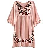 HAOKTY Damen Mexikanischen Ethnischen Floral Gestickten V - Ausschnitt Bluse Boho Mini Kleid (Altrosa)
