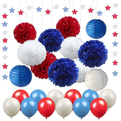Rot Blau Party Dekorationen Stern Luftschlangen Balloons Pom Poms Seidenpapier Laternen Nautische Party Decor Patriotische Dekorationen Captain America Party Supplies für Baby Shower Boy (Nautische Supplies Party)