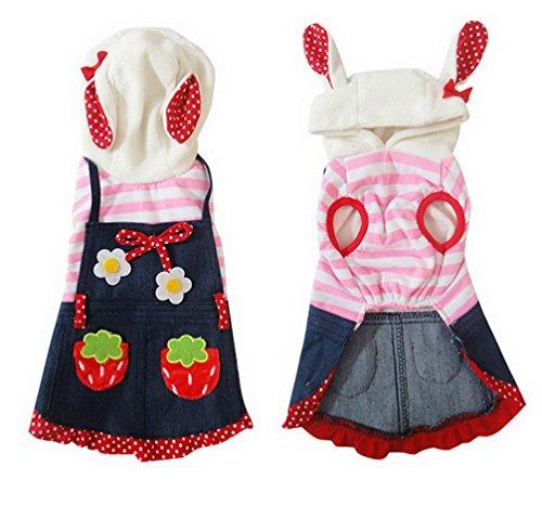 ranphy Kleiner Welpe/Tier Kleidung für weiblich männlich Sweet Strawberry Bunny Hund Kostüm mit Kapuze Denim Hund Kleid Dots (Männliche Tutu Kostüm)
