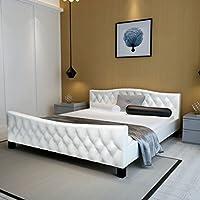 274633 - Cama doble (piel sintética, 140 x 200 cm, 244257 + 241403), color blanco - Muebles de Dormitorio precios