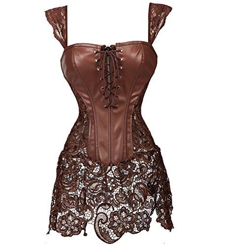 MISS MOLY Damen Gothic Kunstleder Korsagenkleid Schwarz Faux Leder corsage Clubwear, Braun, Gr. Medium