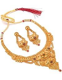 Jewar Mandi Necklace Set Two Gram Gold Plated Meena Work Handmade Jewelry For Women & Girls