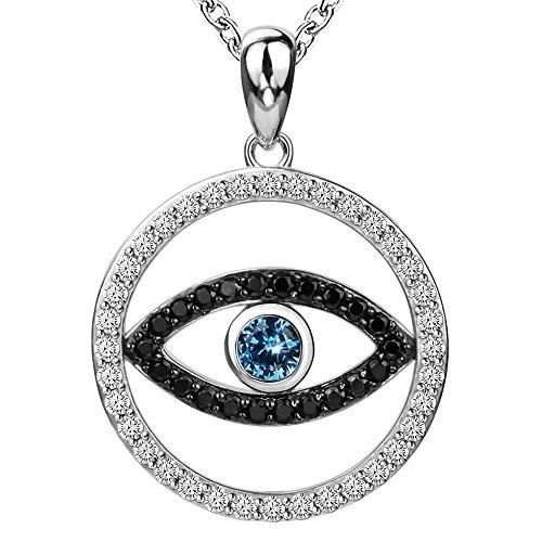 925Sterling Silber Charm Evil Eye Hamsa Halskette Dainty mit Blau CZ Anhänger Weiß Vergoldet Schmuck Lange Kette für Frauen