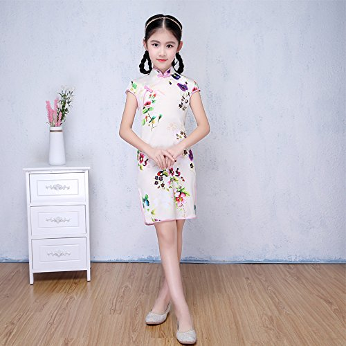 GUYIVVU Dress,Cheongsam Chinese Traditional Dress Floral Pattern Girls Dress Casual Teenagers Performance Costume Party Costume Children Clothing 3-14Y,B,S
