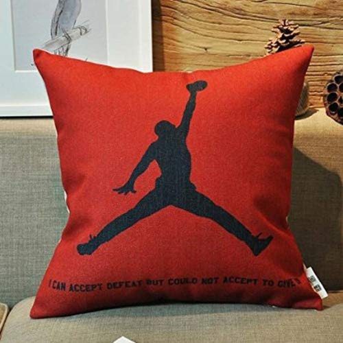 Kenneth Housse de coussin motif Michael Jordan imprimé sur un côté, pour les fans de basketball, 45,7 x 45,7 cm