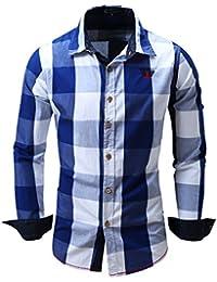 Yiye - Pull de sport - Avec boutons - À Carreaux - Col Chemise Classique - Homme