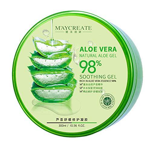 Oshide Aloe vera gel 98{dd55a7b7d2a586a587ec59a860a71886155d002f3da99d1100ac8e58e359ede8} zieht schnell ein, keine Rückstände, Feuchtigkeitspflege für Gesicht, Haut und Haar 300ml