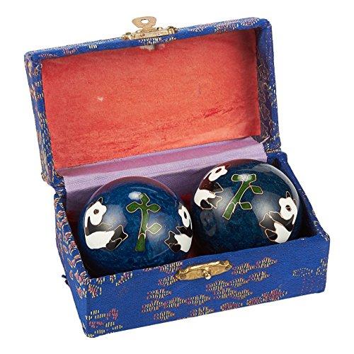 Salute Baoding balls–Set di metallo per palline antistress mano cinese, cinese Fidget Toys con colori assortiti, contenitore per stress-relief, esercizi, massaggio, meditazione, Panda design, blu