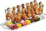 G.a HOMEFAVOR Soporte de Pierna de Pollo Bandeja de Acero Inoxidable para Cocinar Alitas y Muslos de pollo con Bandeja Colectora