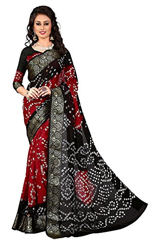 Visva Fashion Women's Georgette Saree With Blouse Piece (761_Bandhni_D_Blue5)