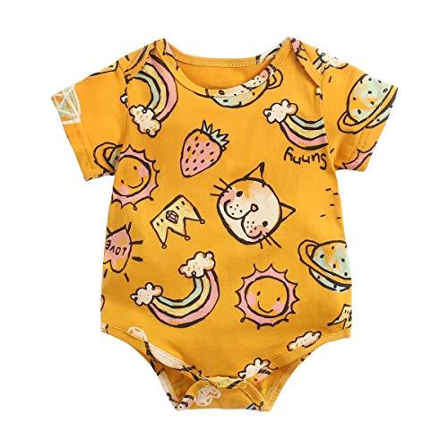 Sanlutoz Karikatur Baby Jungs Mädchen Bodysuit Baumwolle Sommer Kurzarm Kleidung für Baby (0-6 Monate / 66 cm, BRS9049-YE)