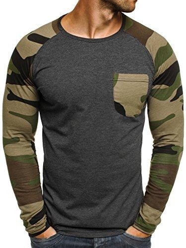 OZONEE Herren Longsleeve Sweatshirt Langarmshirt Camouflage Armee Militärstil Athletic 1089 Dunkelgrau M (Armee Bekleidung)