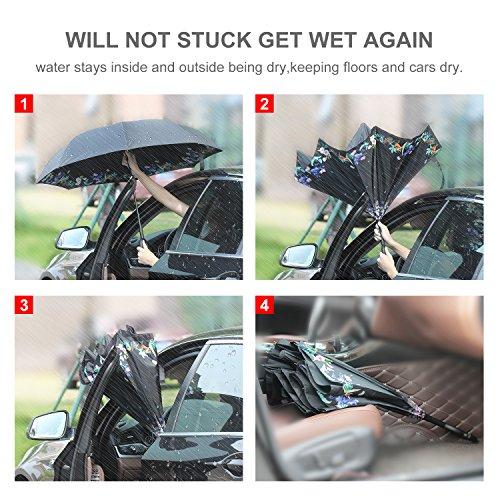 HISEASUN Parapluie Inversé Innovant Anti-UV Double Couche Coupe-Vent Mains Libres poignée en Forme C - Idéal pour Voyage et Voiture(Petite fleur de co...