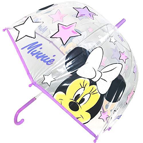 Minnie Star Paraguas Cúpula Transparente Manual Paraguas Infantil Paraguas Niña (WD12780) (Violeta)