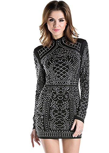 Miss ord da donna poliestere Studded Cocktail Mini Vestito Black Large