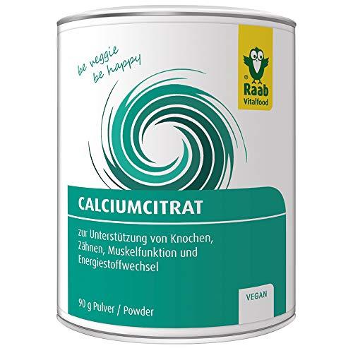 Raab Vitalfood Calcium-Citrat Pulver, 90 g, vegan, laborgeprüft, gut zu dosieren, Sportler, Unterstützung von Muskeln & Knochen, Elektrolyt-Haushalt -