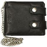 Men's Black Biker's Wallet Kabana with 45 Cm Long Metal Chain to Hang