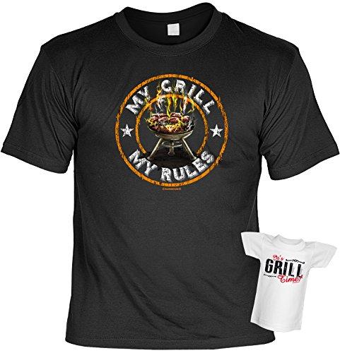 Cooles Herren Griller T-Shirt My Grill My Rules mit Gratis Mini T-Shirt Set Grillfan Geschenk Grillen Grillparty Männergeschenk Schwarz