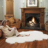 CHENGQI Faux Pelliccia di Agnello di Pecora Tappeto Bianco Sintetica Decorativa Antiscivolo Yoga Tappeti per Salotto da Letto Divano Pavimento,White-150×200cm/4.9'×6.5'