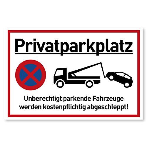Privatparkplatz Schild Parken Verboten (30x20 cm Alu) - Fahrzeuge Werden kostenpflichtig abgeschleppt - Klares Zeichen für Parkverbot - Parkplatz Schilder Privatgrundstück (Aluminium Metall) - Parkplatz Schild