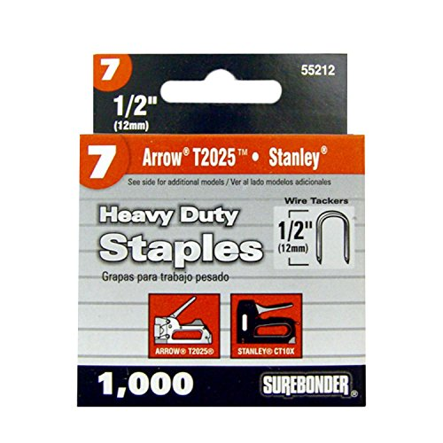 Surebonder 55212 Heavy Duty 1/2-Inch Length Round Crown Wire Tacker Staples, Arrow T25 Type, 1000 Count