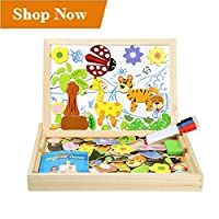 InnooBaby Magnetic Jigsaw Puzzles 100 Pieces Educational Wooden Toy for Kids 3 4 5 Years Old Double Sided Magnetic Drawing Board with 3 Color Pens