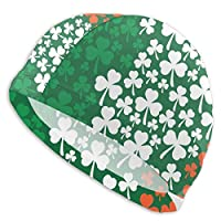 Tyueu Unisex Swimming Cap Ireland Flag Shamrock Pattern Unisex Swim Cap Cute Swimming Caps for Long & Short Hair UV Swimming Hat for Adult Youth Junior