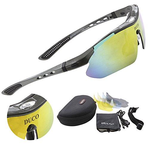 DUCO SP0868 Gafas de Sol Polarizadas con 5 Lentes Intercambiables Deportivas Protección Ultravioleta UV400 Marco Gris