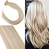 [Coupons 7 Jours 5% Offre]YoungSee Extensions Flat Bonded Keratin Cheveux 50 * 1g Highlight Blond Remy Bresilien Hot Fusion Extensions de Cheveux Humains 20Pouces/50cm