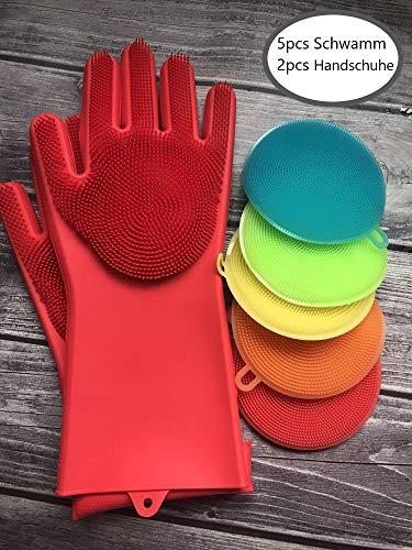 TRAUMSHOP Antibakterielle Silikon Schwamm und Handschuhe 5 Stück + 1 Handschuhe Set Antibakterielle Multifunktionaler Silikonschwamm