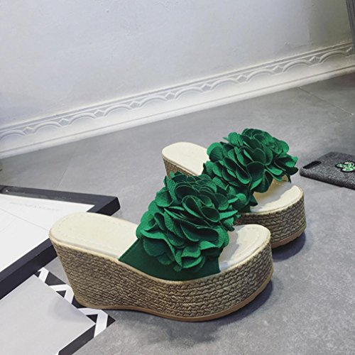 DM&Y 2017 fiori femminili sulla pista estiva con tacco alto sandali fondo pesante scarpe Green