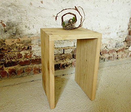 Eiche Hocker massiv, gezinkt, sandgestrahlt, Höhe 52 cm Beistelltisch, Couchtisch,Blumenhocker, Handmade in Germany -