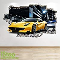 1Stop Graphics Shop FERRARI YELLOW WALL STICKER 3D LOOK - BOYS KIDS BEDROOM SUPERCAR WALL DECAL Z545 Size: Large