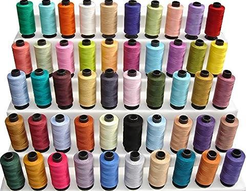 50x grandes bobines de fil à coudre 100% pur coton de 457,2m chacun. Fils pour tout usage en 50couleurs.