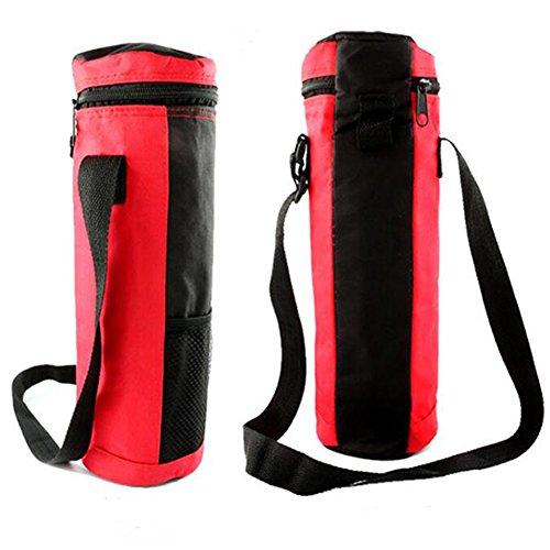 Ocamo Bolsa Térmica para Botellas de Hielo con Aislamiento, Redonda, de Gran Capacidad, Plegable, Ideal para el hogar, Oficina, Camping, Viajes, Rojo