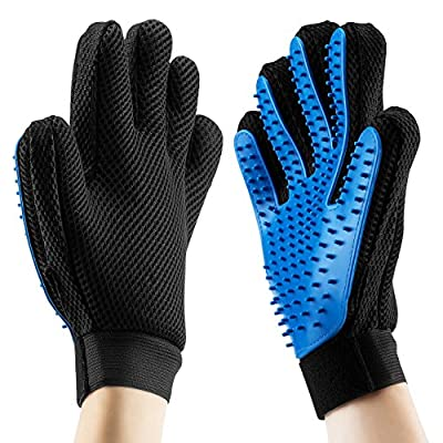 Pet Grooming Massage Glove Brush, OMorc 2Pcs Pet Dog Cat Grooming Gloves Hair Remover Brush Glove for Long and Short Hair (Both for Right Hands)
