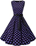 bbonlinedress 50s Retro Schwingen Vintage Rockabilly Kleid Faltenrock Black Purple Big Dot L
