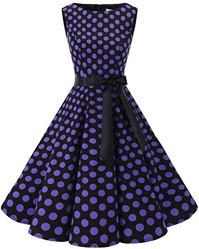 tro Schwingen Vintage Rockabilly Kleid Cocktail Faltenrock Black Purple BDot M ()