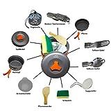SUNNY Camping Geschirr set - 12 teiliges Outdoor Kochgeschirr - leicht Aluminium Edelstahl Campinggeschirrset – INKLUSIVE 6 teiligem BESTECKTASCHENMESSER - Farben: Schwarz/Orange/Grün