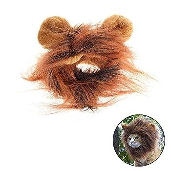 Déguisement pour chat crinière de lion perruque avec scratch Marron
