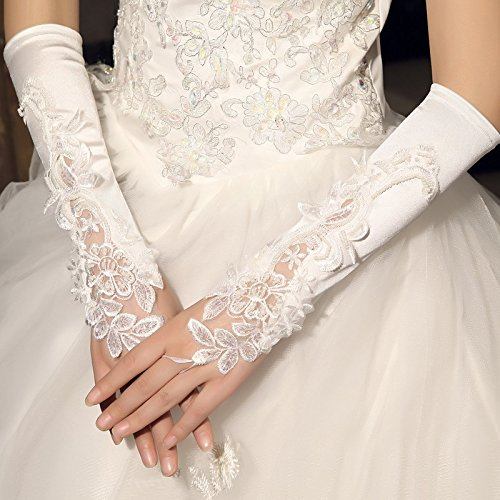 (ZHANG29 Braut Hochzeit Handschuhe Weiß Kurze Hochzeit Spitze Handschuhe Hochzeit Zubehör, White)
