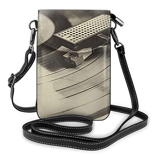Goxegag Multifunktionale Leder Telefon Geldbörse, Leichte Kleine Schulter Umhängetasche Reisetasche Mit Verstellbarem Gurt Für Frauen- Schallplattenspieler