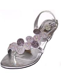 64651af317c Amazon.es  Sandalias Color Plata - 44.5   Sandalias de vestir ...
