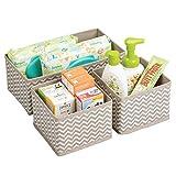 mDesign set da 3 scatole per armadio - comode scatole portaoggetti e organizer in tessuto ideale per accessori e giocattoli - Colore: talpa, nature