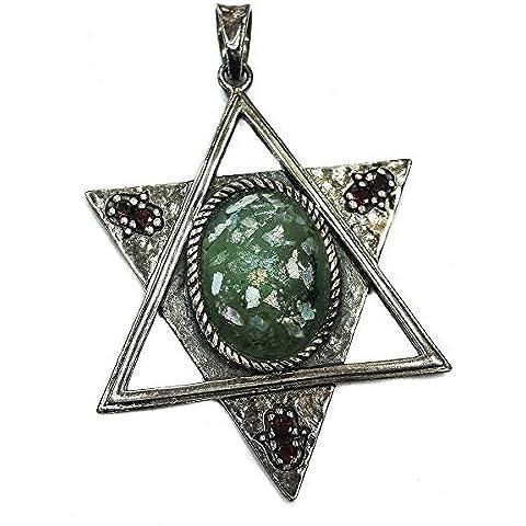 Vera pietra di Eilat Solomon re Crocifisso Croce Jerusalem fatti a mano in argento 925