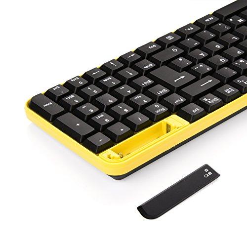 Kabellose Tastatur und Maus, Jelly Comb 2.4G Ultra Dünne Bewegliche Drahtlose Tastatur und Maus Combo (QWERTZ, Deutsches Layout) Full-Size Ergonomische Kabellose Flüsterleises Tastaturdesign, Gelb &Schwarz - 4